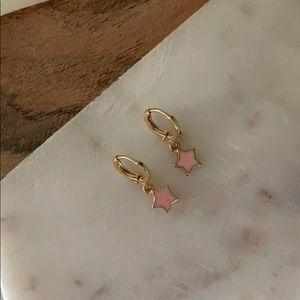BOGO! Pink Star Charm Huggie Earrings